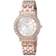GUESS U1062L3 (Rose Gold/Bronze) Watches ($125) ❤ liked on Polyvore featuring jewelry, watches, rose gold tone watches, guess wrist watch, petite watches, bezel watches and quartz movement watches