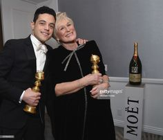 Rami Malek and Glenn Close with awards backstage at Moet & Chandon at The Annual Golden Globe Awards at The Beverly Hilton Hotel on January 2019 in Beverly Hills, California. Get premium, high resolution news photos at Getty Images Golden Globe Award, Golden Globes, Glenn Close, Gina Rodriguez, Mark Ronson, Rami Malek, Moet Chandon, Denzel Washington, Beverly Hilton
