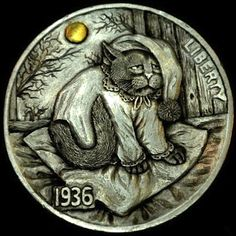 """Hobo Nickel """"Another Sleepless Night"""" Cat Kitten by Howard Thomas Hobo Nickel, Coin Art, Art Forms, Sculpture Art, Cats And Kittens, Coins, Miniatures, Carving, Money"""
