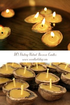 Beeswax Candles, Diy Candles, Candle Decorations, Floating Candles, Table Centerpieces, Wedding Centerpieces, Walnut Shell Crafts, Small Gifts For Friends, Shell Candles