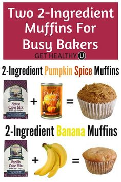 These pumpkin spice muffins and banana muffins are insanely easy to make and healthy! These two ingredient recipes require a box of cake mix and one other ingredient (a fruit or a veggie!).
