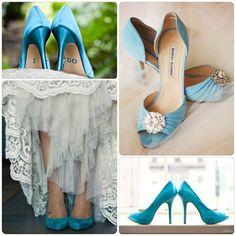 Zapatos de novia color turquesa #azul #boda