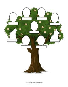 This family tree for parents and five kids also includes a space for a dog and a cat. Free to download and print