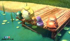 The Glumpers have decided to spend a holiday day fishing in a lake relaxed. - Photos of the summer vacation of Glumpers, comedy cartoon for children ------- Los Glumpers han decidido pasar un día de sus vacaciones en un lago pescando relajadamente. - Fotos de las vacaciones de veranos de los Glumpers, comedia de dibujos animados para niños