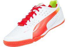 771b3f1b069f Puma evoSPEED 1.2 Sala Indoor Soccer Shoes White with Cherry Tomato Futsal  Court