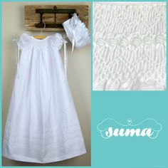Long WHITE Christening Gown with Bonnet   infant by SUMACLOTHING