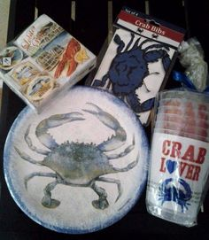 Coastal Crab Dinner Table Set Plates Napkins Cups Bibs Nautical #Nantucket