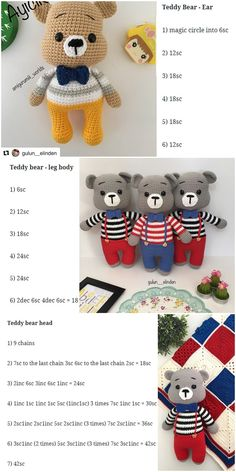 In this article we will share the amigurumi teddy bear free crochet pattern. You can find everything you want about Amigurumi. Crochet Teddy Bear Pattern, Crochet Amigurumi Free Patterns, Crochet Animal Patterns, Crochet Bunny, Stuffed Animal Patterns, Crochet Dolls, Free Crochet, Girl Blog, Amigurumi Doll