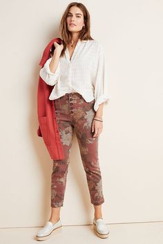 Petite Pilcro Ultra High-Rise Slim Straight Jeans in Purple Size: 29 P Womens Denim at Anthropologie - Women Straight Jeans - Ideas of Women Straight Jeans Slouchy Sweater, Tunic Sweater, Napa Valley, Women's Straight Jeans, Clothes For Sale, Clothes For Women, Anthropologie, Faux Leather Pants, Slim