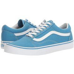 Vans - Old Skooltm ((canvas) Cendre Blue/true White) Skate Shoes Blue Trainers, Blue Sneakers, Canvas Sneakers, Blue Shoes, White Canvas Shoes, Blue Canvas, Skate Shoes, Vans Shoes, Vans Footwear