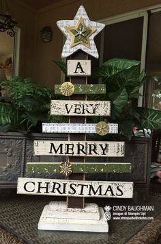 Stamped With Aloha Wooden Christmas Decorations, Christmas Tree Crafts, Noel Christmas, Christmas Signs, Outdoor Christmas, Christmas Projects, Holiday Crafts, Christmas Ornaments, Christmas Tree From Pallets