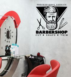 Wall Vinyl Decal Barbershop Professional Service Cut Shave Trim Decor z4816