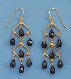 14K Gold Plated Sterling Chandelier Earrings on French Wire, Seven 4.5x8.5mm Spinel Beads, 2 inch Silver Messages. $64.99