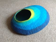 cat bed  cat cave  cat house felted blue aqua by feltyfelt on Etsy, £50.00
