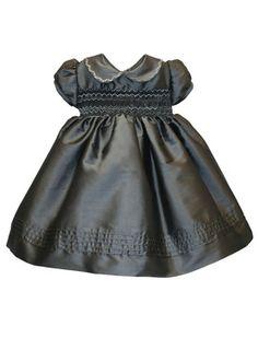 Short Sleeve Hand Smocked Charcoal Girls Holiday Dress