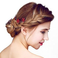 Meiysh Handmade Flower Side Hair Comb Bridal Headpiece Wedding Accessories-Wine red: It is also Great gift for girls and ladies, suitable for daily wear or special occasions such as wedding, prom, anniversary. Bridal Headdress, Flower Headpiece, Headpiece Wedding, Bridal Headpieces, Wedding Dresses With Flowers, Flowers In Hair, Fabric Flowers, Headband Hairstyles, Wedding Hairstyles