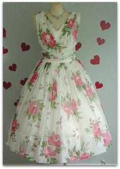 50s Chiffon Roses Dress