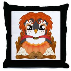 Spiced Pumpguin Throw Pillow #Penguin #Thanksgiving #Kawaii #PumpkinSpice #Cute #Spice  #Autumn #Fall #CafePress