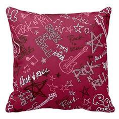 Rock & Roll Rock Star Red Throw Pillow