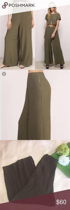 TOBI | la playa olive bell bottom high waisted Waist: 27"