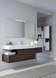 Modern Bathroom Inspiration - Modern bathroom with asymmetrical cabinet Modern Bathrooms inspiration Large Bathrooms, Grey Bathrooms, Amazing Bathrooms, Luxury Bathrooms, Bathroom Gray, Light Bathroom, Master Bathrooms, Contemporary Living Room Furniture, Modern Room