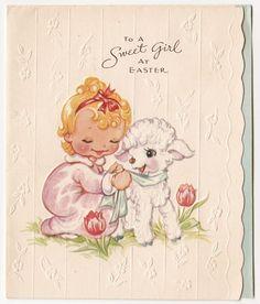 Vintage Greeting Card Easter UNUSED Little Girl Cute Lamb A-Meri-Card a350