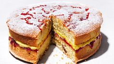 Turn simple store-cupboard ingredients into a scrumptious jam and custard cake, with raspberry jam-swirled sponge and custard-flavoured buttercream Cake Recipes Uk, Layer Cake Recipes, Cake Recipes From Scratch, Baking Recipes, Dessert Recipes, Layer Cakes, British Desserts, Food Cakes, Australian Sweets
