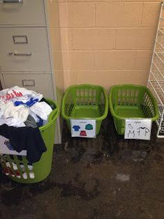 Life skills classroom tasks...sorting color vs white laundry. For related pins and resources follow https://www.pinterest.com/angelajuvic/autism-special-needs/