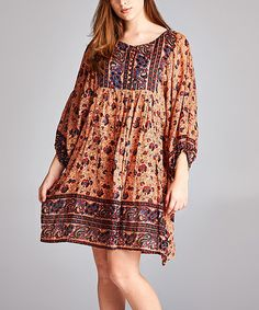 Look what I found on #zulily! Coral Paisley Peasant Dress - Plus #zulilyfinds