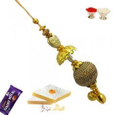 Picture of Designer Wooden Bead with Golden Beads Fancy Rakhi Buy Rakhi Online, Rakhi To India, Wooden Beads, Innovation Design, Fancy, Drop Earrings, Stuff To Buy, Australia, Jewelry