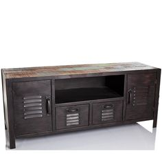 Wooden Entertainment Unit W Drawers     Metal, Solid Wood   Stonel