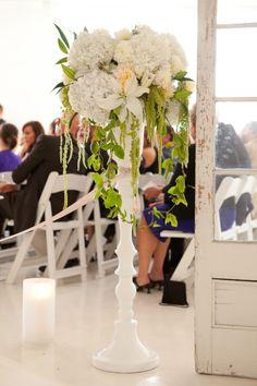 Ceremony arrangement idea #tallarrangement #white #green #designsbyahn #dba #wedding