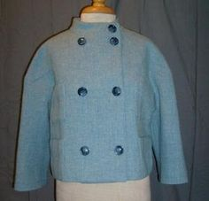 Size Small Worth Jacket Blue Wool Blend 3/4 Sleeve Stand Up Collar Front Pockets