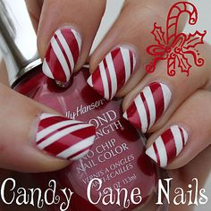 Candy Cane Nails for #christmas #christmasnails #holidaynailart I was literally trying to imagine how to do this like ten minutes ago