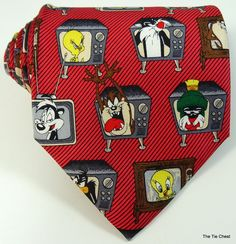Funny Silk Tie Looney Tunes on Tube TV Red Cartoon Necktie Old Ties, Novelty Ties, All Tied Up, Cartoon Tv, Looney Tunes, Tube, Casual Outfits, Bows, Neck Ties