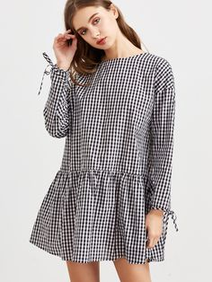 Shop Black And White Checkered Tie Sleeve Ruffle Hem Dress online. SheIn  offers Black And White Checkered Tie Sleeve Ruffle Hem Dress & more to fit  your ...