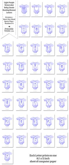 Light Purple Watercolor Baby Onesie Shaped Banner Letters Download from PrintableTreats.com