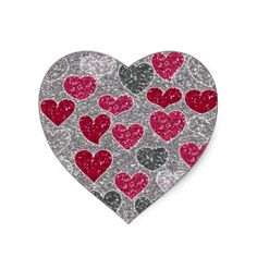 Happy Valentine's Day Glitter Love Bling Hearts Sticker