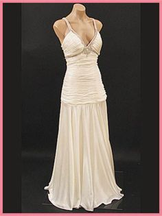 30s Style Ivory Sating Deco Evening Gown Informal Wedding Dresses Gowns Attire