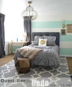 gray, mint, gold [guest room redo at tatertots and jello]