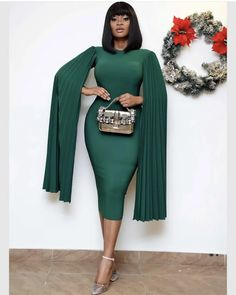Pleated Plus Size Caped Sleeve Midi Dress – colintime Classy Work Outfits, Classy Dress, Chic Outfits, Fashion Outfits, Woman Outfits, Office Outfits, African Wear Dresses, Latest African Fashion Dresses, Corporate Attire Women