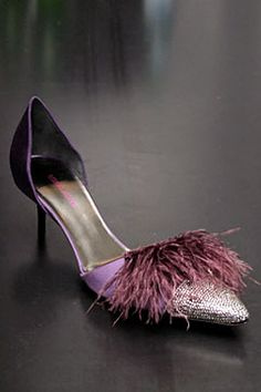 armani feathered purple heels