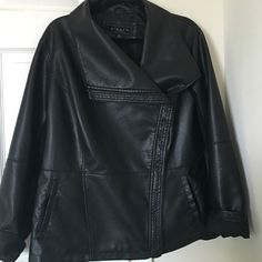 Faux leather jacket Beautiful soft faux leather jacket. This jacket can be dressed up or down. Really cute. Excellent condition. Jackets & Coats