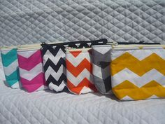Chevron yellow in white print make up bag We have by sewtrendyrose, $5.00