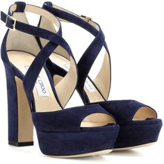 Jimmy Choo April 120 Suede Sandals (2.415 BRL) ❤ liked on Polyvore featuring shoes, sandals, blue, suede shoes, suede leather shoes, jimmy choo sandals, jimmy choo and blue suede sandals