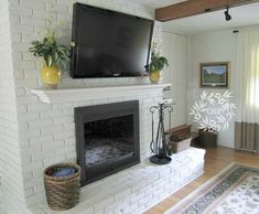 painted brick fireplace | Painted Brick Fireplace Makeover | For the home-family/living