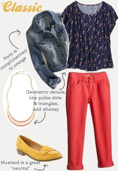 I have some cute cropped orange pants that I'm looking for wardrobe idea. Never considered blue or denim. Not sure about the yellow shoes though! Fall Outfits, Summer Outfits, Fashion Outfits, Orange Pants, Yellow Shoes, Fall Clothes, Autumn Winter Fashion, Casual Looks, Fashion Forward