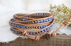 "Bohemian Earthy ""Cloudy"" Rustic Jasper Leather 5x Wrap Bracelet, Nature Boho Chic Gypsy Hippie Bronze Colour Multistrand Layereing Bracelet by ByLEXY on Etsy"