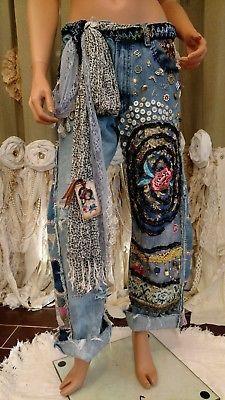 75ba86537f Faith Connexion Womens Distressed Wide Leg Flare Jeans Blue Cotton Size 26