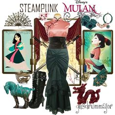 """""""Steampunk: Mulan"""" by ghsdrummajor that is just ridiculously awesome Disney Princess Outfits, Disney Dresses, Disney Outfits, Casual Cosplay, Cosplay Outfits, Disney Mode, Punk Disney, Disney Disney, Disney Inspired Fashion"""